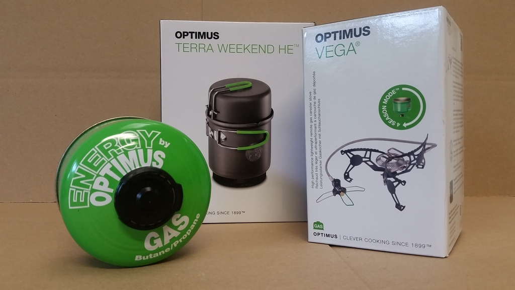 Optimus : réchaud Vega + popote Terra Week End HE + cartouche 100g