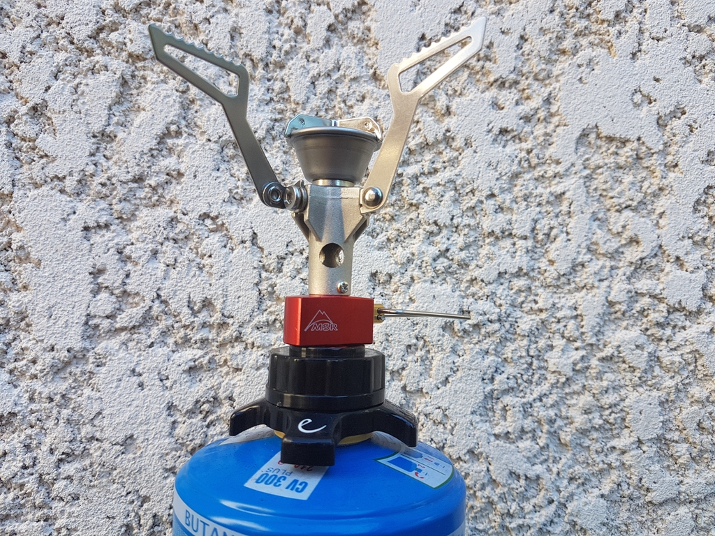 Cartouche à valve + adaptateur + réchaud à vis Msr Pocket Rocket 2